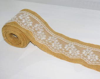 Burlap Ribbon Wired Burlap Trim with White Lace 1 Yard, Burlap Ribbon/Jute ribbon/Jute Trim/Burlap and Lace/Hessian/Rustic/Wedding/Vintage