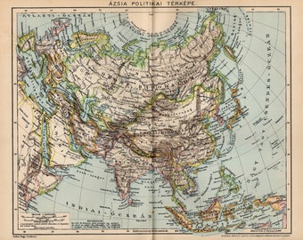 Antique political map of Asia from 1893