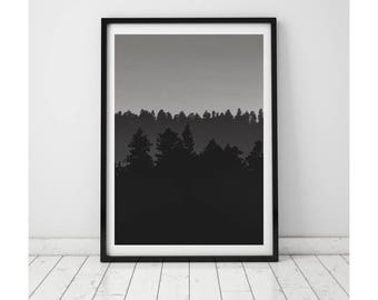 Black and White Prints, Black and White Photography, Minimalist Print, Minimalist Wall Art, Forest Print, Minimalist Art, Forest Art, Decor