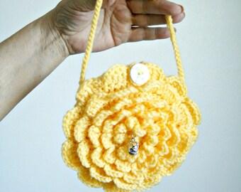 Crochet Flower Purse, Crochet Bag,Yellow Flower Bag,Small Purse,Children's Purse,Yellow Purse,Flower Handbag,Handmade Purse Bag,Girls Purses