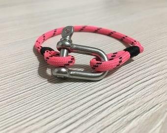 Shackle bracelet, marine cord Bracelet pink neon simple, unisex Bracelet men/woman/child - BASIC Collection