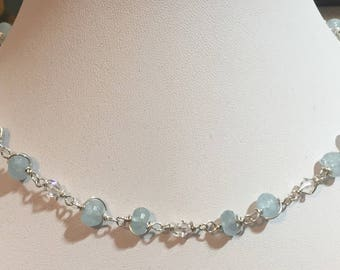Aquamarine and Swarovski crystal wire wrapped necklace