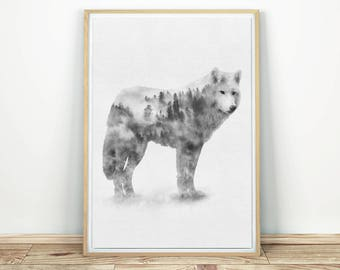 Wolf Print - Black And White Art, Wildlife Print, Wolf Poster, Forest Animal, Nature Wall Art, Grey Wolf, Large Print, Wolf Printable