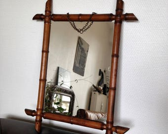 Mirror - vintage - bamboo, colonial style - 50's