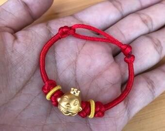 24k real Gold Baby birthday gift bracelet newborn gift bangle pure gold zodiac rooster lucky red string bracelet