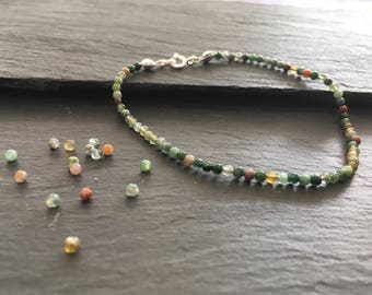 2mm Indian Agate bracelet with 925 sterling silver clasp