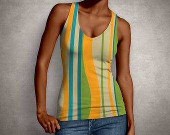 Women, Shirt, Top, Retro, Print, 60s, Girlfriend Gift, Tank Top, Blouse, Gift for Her, Green, Tank, Stripes, Wife Gift, Yellow, Print