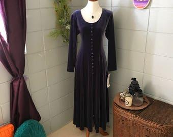 1980's Vintage J. Stevens Velvet  Long Sleeve Dress