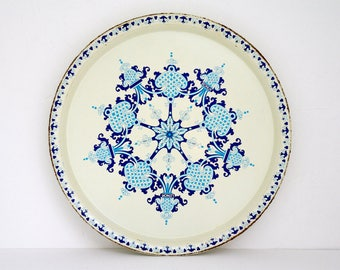 French round metal tray / serving tray / promotional / Bonux & Lenor / Oriental blue floral decor / 70's Vintage