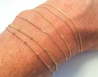 Delicate, Thin Gold Bracelets & Anklets Δ Simple Gold Chain Bracelets Δ Dainty, Minimalist Bracelets Δ Friendship or Best Friend Bracelets
