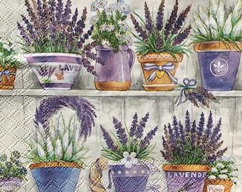 Decoupage Napkins x4, Paper Napkins for Decoupage Scrapbooking Craft Lavender Pots Plants Flowers Garden 657