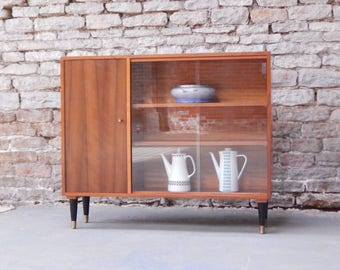 Morris of Glasgow walnut display cabinet bookcase 50s 60s retro vintage atomic