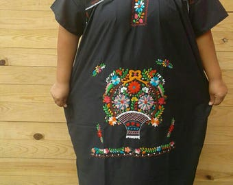 Mexican hand Embroidered floral Summer dress size 3XL-4XL