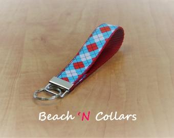 Blue, Red and White Argyle Key Fob/Wristlet