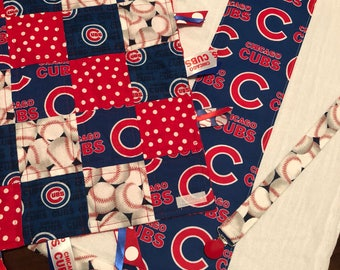 Chicago Cubs   Cubbies Baseball Baby Tag Blanket Gift Set