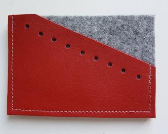 Wallet red leather & felt