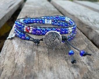 Wrap bracelet, bohemian style, bracelet beads bracelet