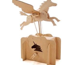 Flying Unicorn Wooden Automata Kit