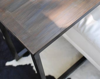 C Table, Metal Side Table, End Table, Patina Side Table, Industrial  Furniture