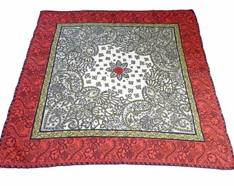 "Scarf Silk hand rolled hem 50s Paisley Pattern 31""x31"""