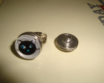 ring silver adjustable cabochon cat removable snap clips