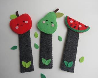 Felt bookmarks-Felt fruits-Little readers gift-Pear bookmark-Apple bookmark-Watermelon bookmark-back to school gift