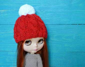 Blythe Hat, Blythe Cabled Knitted Beanie, Blythe Clothes, Blythe Crochet, Blythe Outfit, Blythe, Blythe Doll, Blythe Clothing