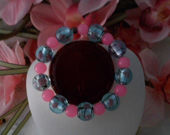 Beautiful Pink and Blue Glass Beaded Bracelet