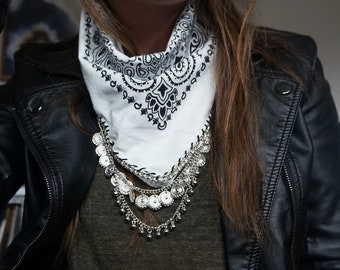 white bandana with silver chain