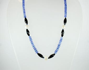 A Beautiful Blue Tanzanite Freshwater Pearl and Black Spinel Beaded Necklace