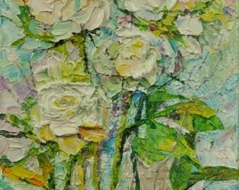 Original Oil Painting  White Rose Flower Field Art Palette Knife Impasto Textured Still life Gift painting Home decor Wall Art Oil Fine ART