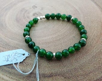 Jade Beaded Bracelet with Silver accents