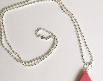 Kawaii Watermelon Necklace, silver ball chain 24 in