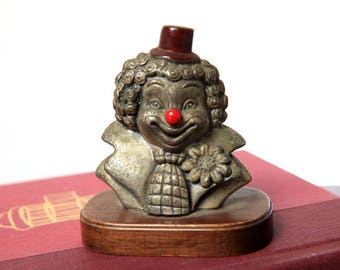 Vintage Pewter Clown Figurine with Wood Bass and Red Nose, Clown Collectible, Circus Clown with Flower, Hat, Tie, Clown Head, Happy Clown