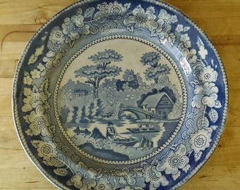 Vintage Victorian Edge Malkin & Co blue and white plate