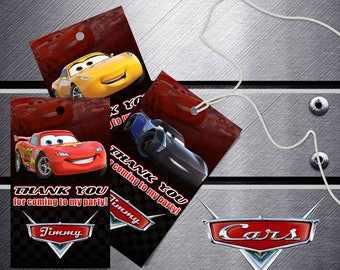 Disney Cars Birthday Favor Tags, Disney Cars Thank You Tags, Cars Party Tags, Disney Cars Party Labels, Lightning McQueen Printable Tags