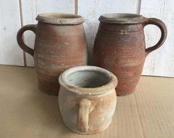 Set of 3 jars in stoneware, rustic kitchen, cottage kitchen, kitchen storage, rustic chic