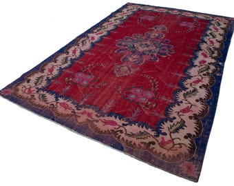 Handmade Decorative Vintage Turkish Rug - Overdyed Rug