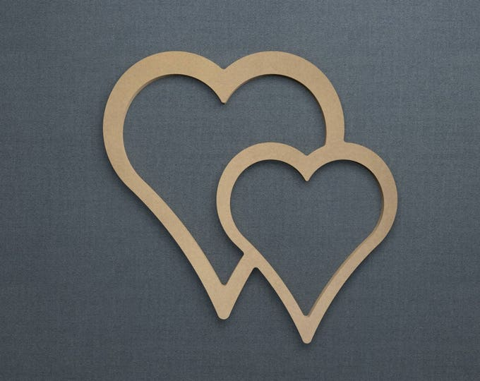 Featured listing image: Heart Outline,  Double Heart, Wood Cutout, Unfinished Sign