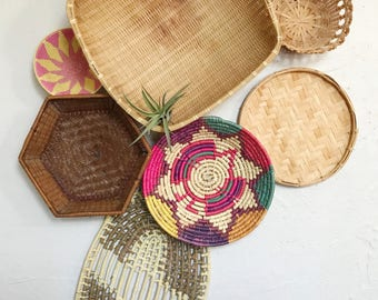 Woven African coiled basket, wicker wall basket set of 7