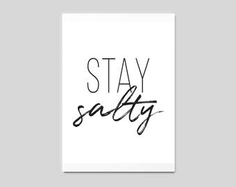 CLEARANCE - 70% Off - Stay Salty Wall Art, Stay Salty Sign, Summer Decor, Beach Quote, Beach House, Printable Wall Art, INSTANT DOWNLOAD