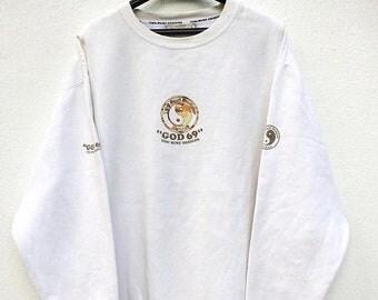 MEGA SALE Vintage T & C Surf Design God 69 Sweatshirt / Hawaii / Surfing / Spell out / Big Logo / Sportwear