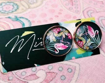 rose gold plated tropical glass flamingo stud earrings