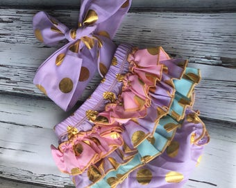Purple ruffled polkadot bloomers with oink and blue ruffles and matching head band