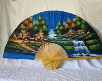 Wood Fan / Folding Fan /Vintage Accordion Fan / Handpainted Fan