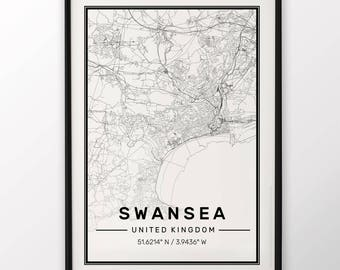 Swansea City Map Print Modern Contemporary poster in sizes 50x70 fit for Ikea frame 19.5 x 27.5 All city available London, New York Paris