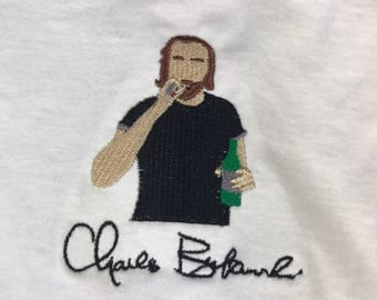 Charles Bukowski Embroidered T-shirt