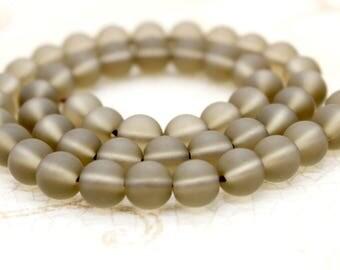 Matte Frosted Smokey Quartz Round Gemstone Beads (8mm 10mm)