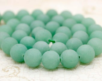 Matte Green Aventurine Round Ball Sphere Gemstone Loose Stone Beads (6mm 8mm 10mm)