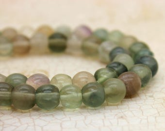 Fluorite Smooth Round Gemstone Beads